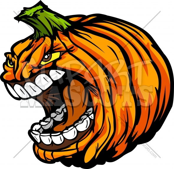 590x574 Scary Pumpkin Head Graphic Vector Halloween Clipart Image