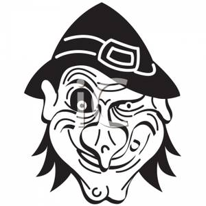 300x300 Black And White Cartoon Of A Scary Witches Face