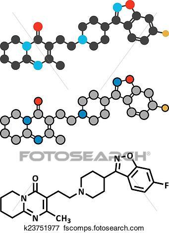 341x470 Clip Art Of Risperidone Antipsychotic Drug Molecule. Used