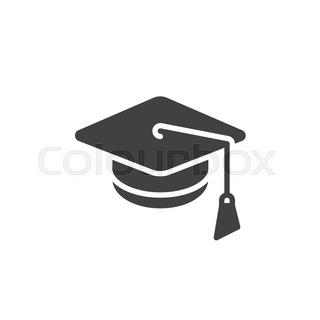 320x320 Graduation Cap With Shadow. Logo Design Modern Vector Illustration