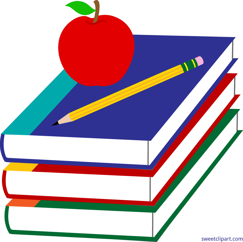 4461x4450 Books Apple Pencil School Clip Art