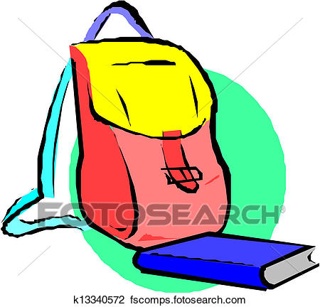 450x432 Clipart Of School Backpack And Book. Cartoon K13340572