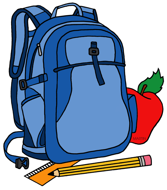 570x648 School Clip Art By Phillip Martin, Backpack