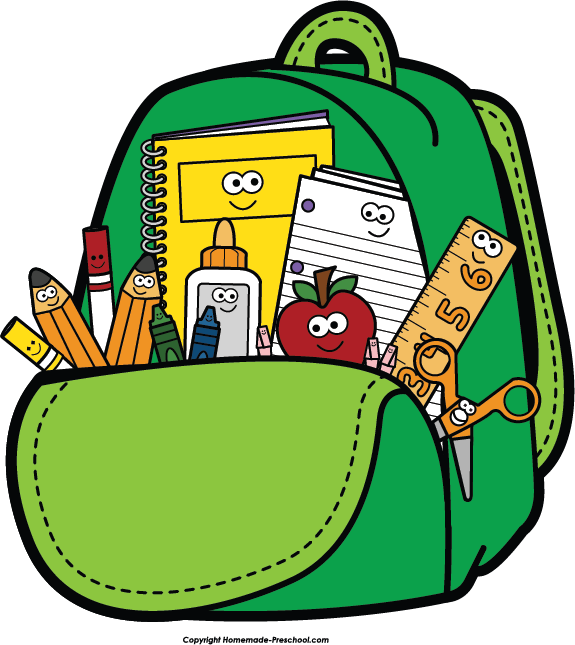 575x645 Bookbag school backpack clip art clipartwiz –