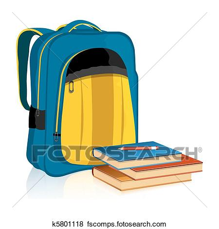 450x470 Clip Art of School Bag with Book and Pencil k5801118