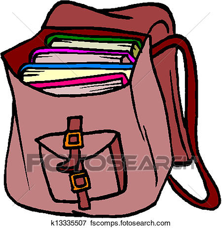 450x462 Clip Art of School Bag with Books k13335507