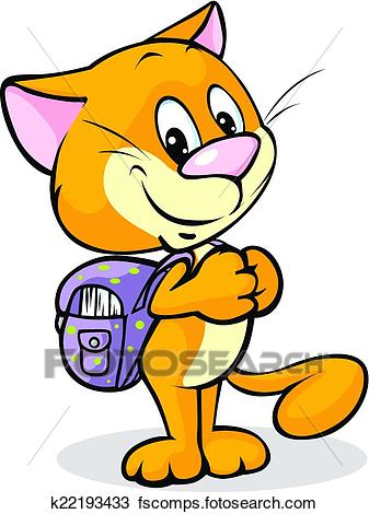 337x470 Clipart of cat with school bag standing isolated on white
