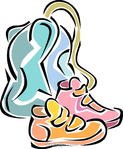 396x480 running shoes, school bag Royalty Free Vector Clip Art