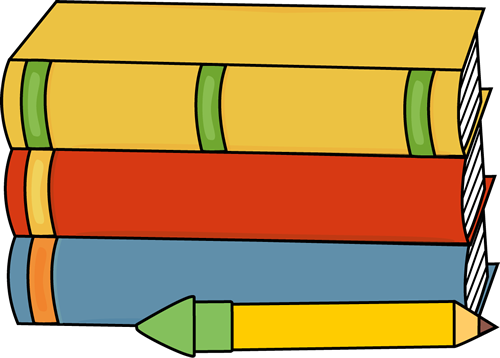 500x358 Books and Pencil Clip Art