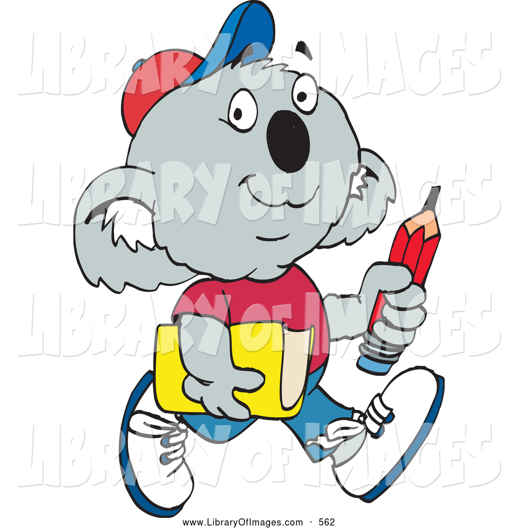 1024x1044 Clip Art Of A Cute Koala School Boy Carrying A Pencil And Book By