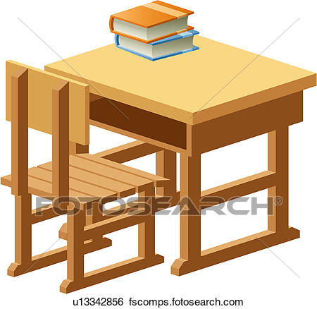 450x438 Clip Art of object, table, school, wooden, book, chair u13342856