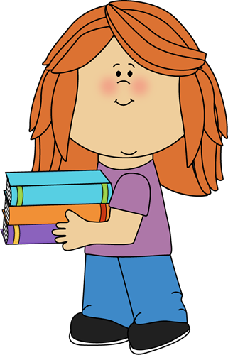 321x500 Little Girl Carrying School Books Clip Art
