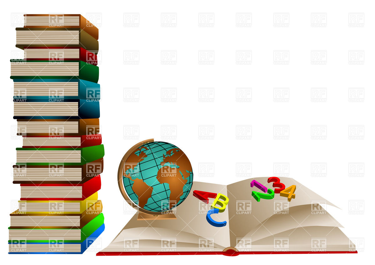 1200x849 Stack Of School Books With Globe And One Open Book Royalty Free