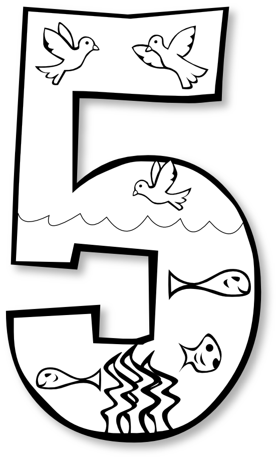 555x915 » Clip Art » creation day number ge black white