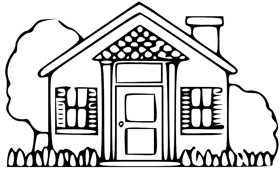 981x600 Free Simple Black And White House Clip Art Image