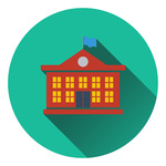 150x150 Icon Of School Building With Flag Royalty Free Vector Clip Art