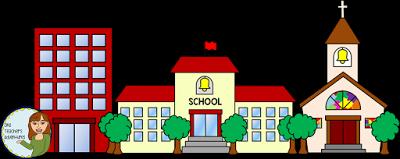 400x159 One Teacher's Adventures Community Buildings Clip Art Set