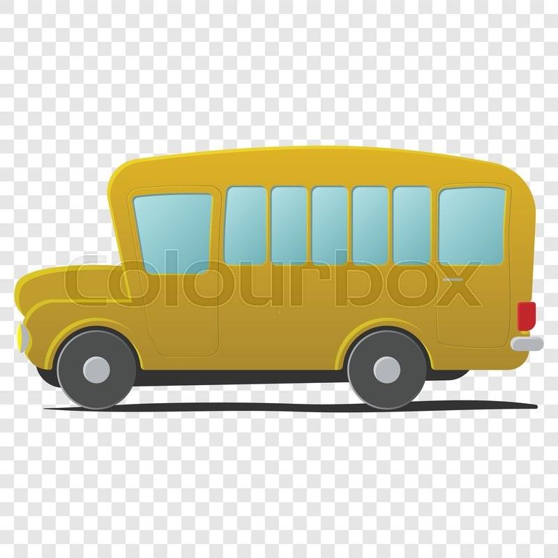 800x800 Yellow School Bus Cartoon. Single Illustration Isolated