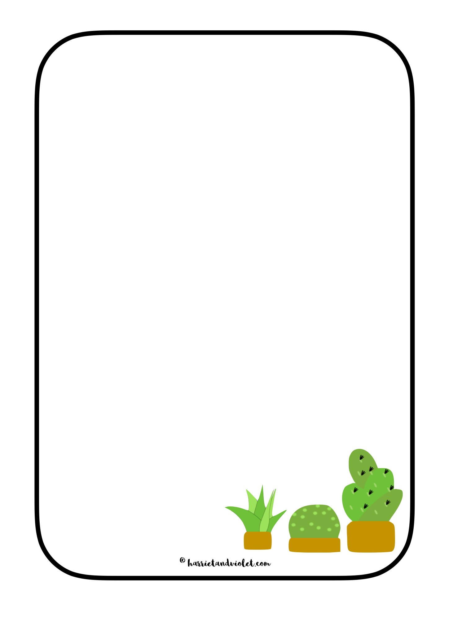 1449x2048 Cactus Plant Border Paper Eyfs + Primary Mark Making