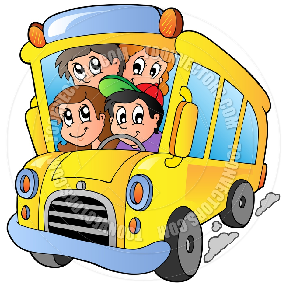 940x940 Cartoon School Bus With Happy Children By Clairev Toon Vectors