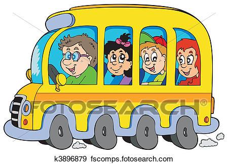 450x324 Clip Art Of Cartoon School Bus With Kids K3896879