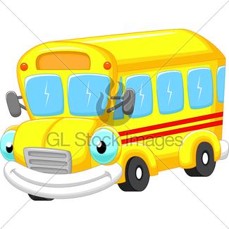 325x325 Cartoon Character School Bus Mascot Gl Stock Images