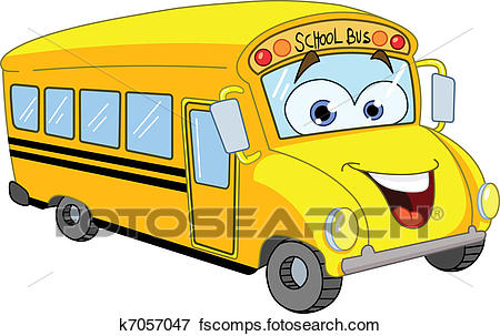 450x303 Clip Art of Cartoon school bus k7057047