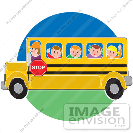 450x450 Clip Art Graphic Of A Bus Driver Taking School Kids To School