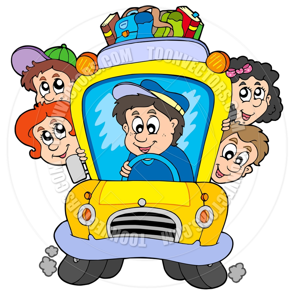 940x940 Cartoon School Bus With Children By Clairev Toon Vectors Eps