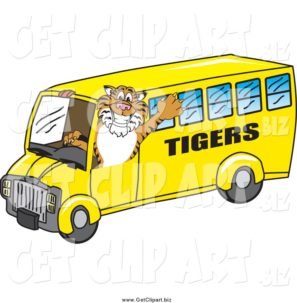 1024x1044 Clip Art Of A Tiger Mascot Driving A School Bus By Toons4biz