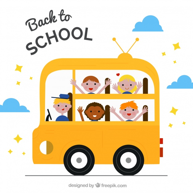 626x626 Happy Students And Driver In The School Bus Vector Free Download