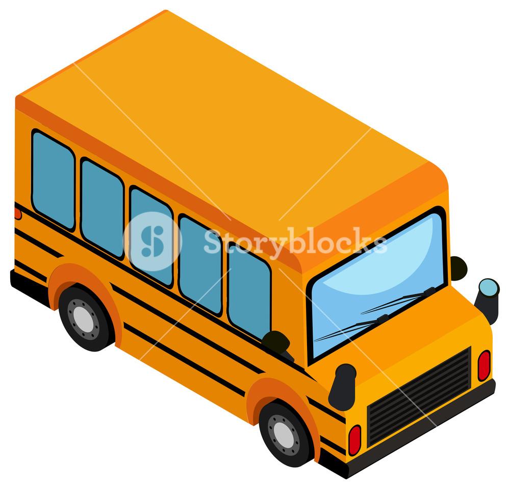 1000x958 Yellow School Bus On White Background Illustration Royalty Free