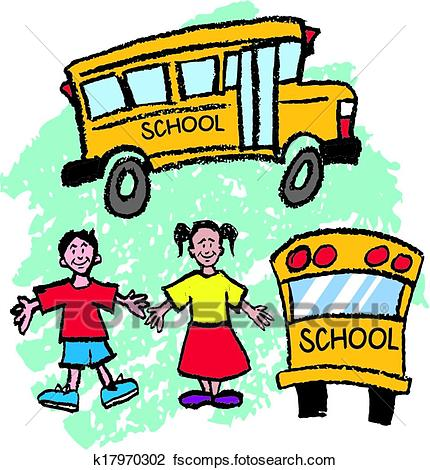430x470 Clipart Of School Bus Kids K17970302