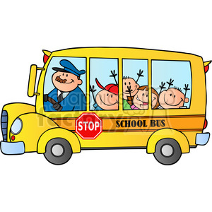 300x300 Royalty Free 5046 Clipart Illustration Of School Bus With Happy