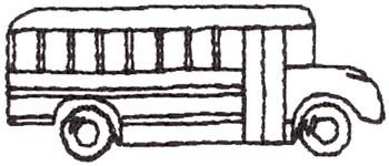 350x150 School Bus Outline Embroidery Designs, Machine Embroidery Designs