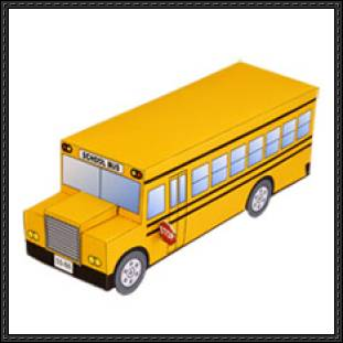 311x311 School Bus Free Papercraft Download