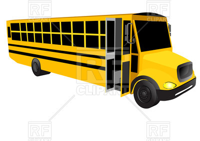 400x283 School Bus With Open Door Isolated On A White Background Royalty