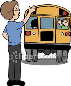 249x300 Waving Goodbye To Child On A School Bus Royalty Free Clipart Picture