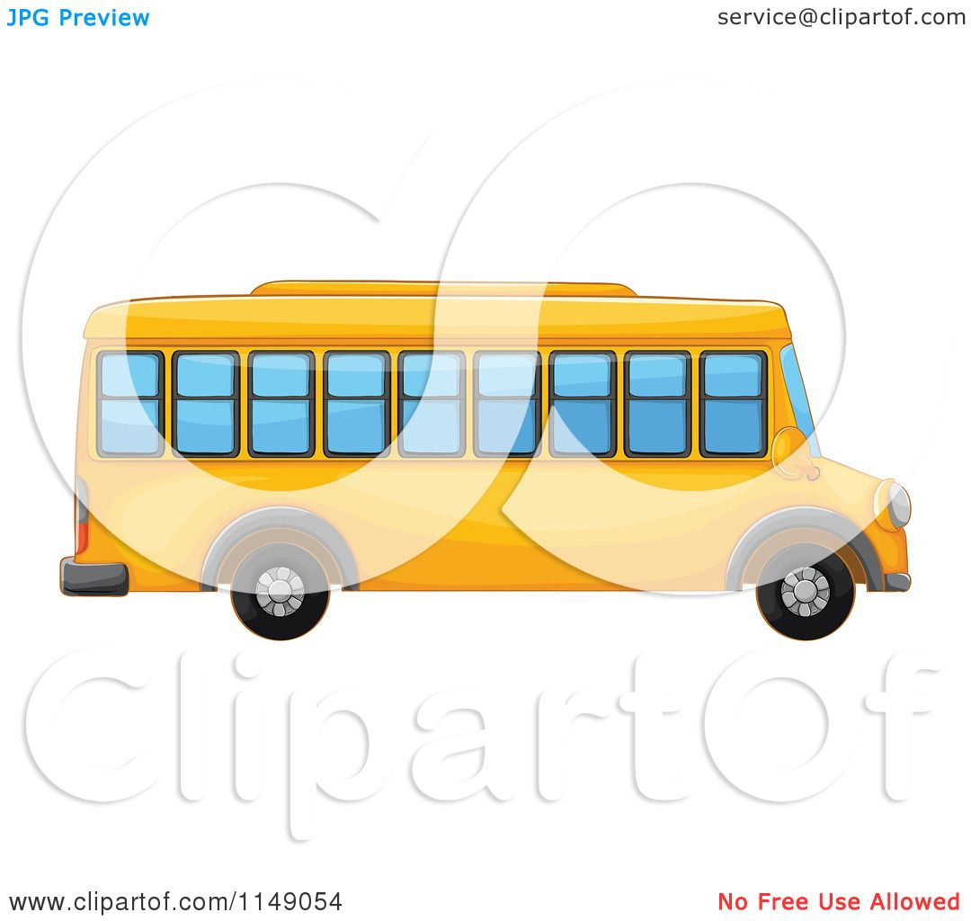 1080x1024 Cartoon Of A Side View Of A School Bus
