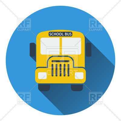 400x400 Flat Design Icon Of School Bus Royalty Free Vector Clip Art Image