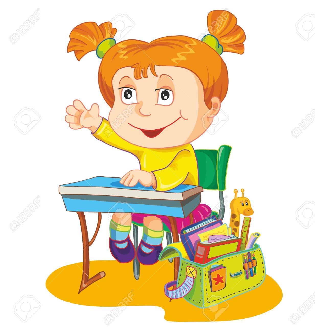 1232x1300 Illustration Schoolgirl Sit On The School Desk Royalty Free