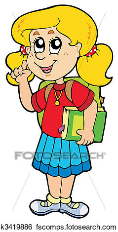239x470 Clip Art of Advising school girl k3419886