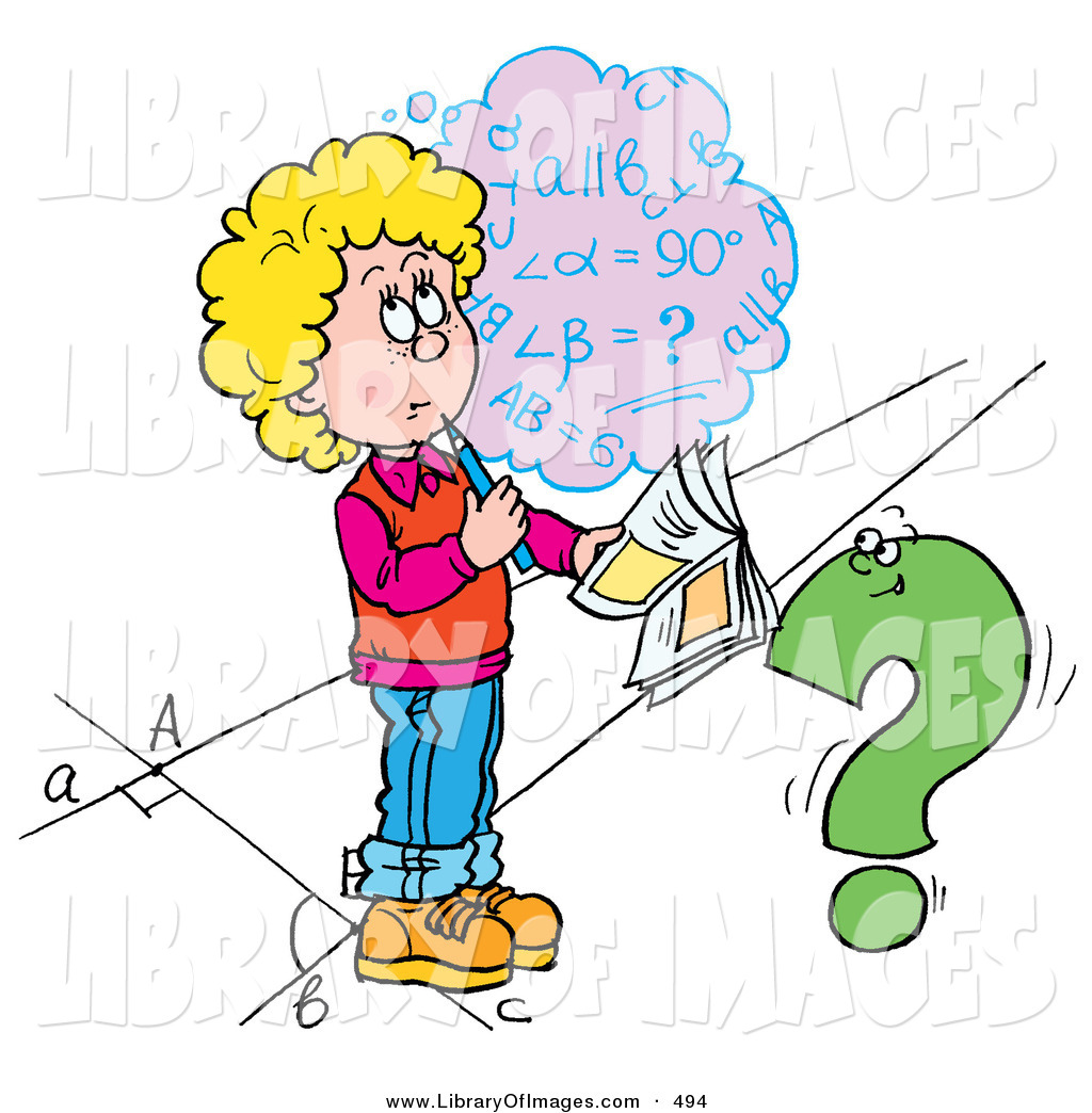 1024x1044 Clip Art Of A Confused School Girl Trying To Figure Out A Math