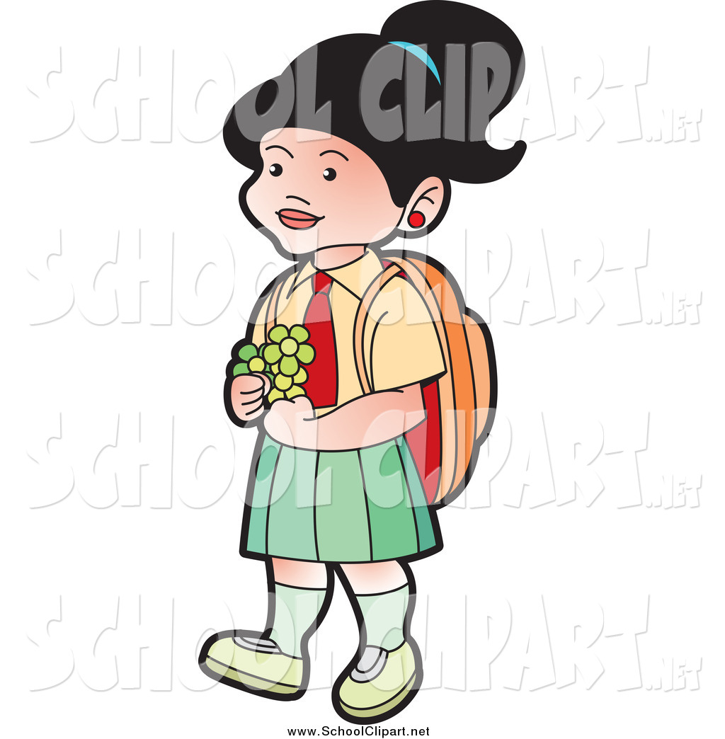 1024x1044 Clip Art Of A School Girl Walking With Flowers By Lal Perera