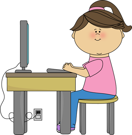 440x450 School Girl Using A Computer Clip Art