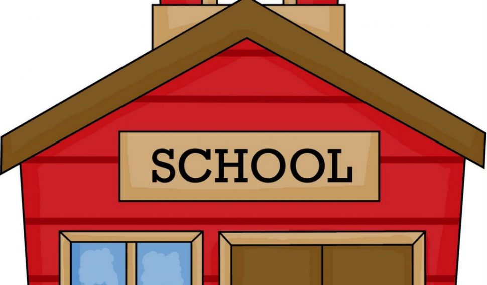 970x568 Coloring Pages Clip Art School House Red With Bell Hi Coloring