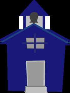 224x297 Blue Schoolhouse Clip Art