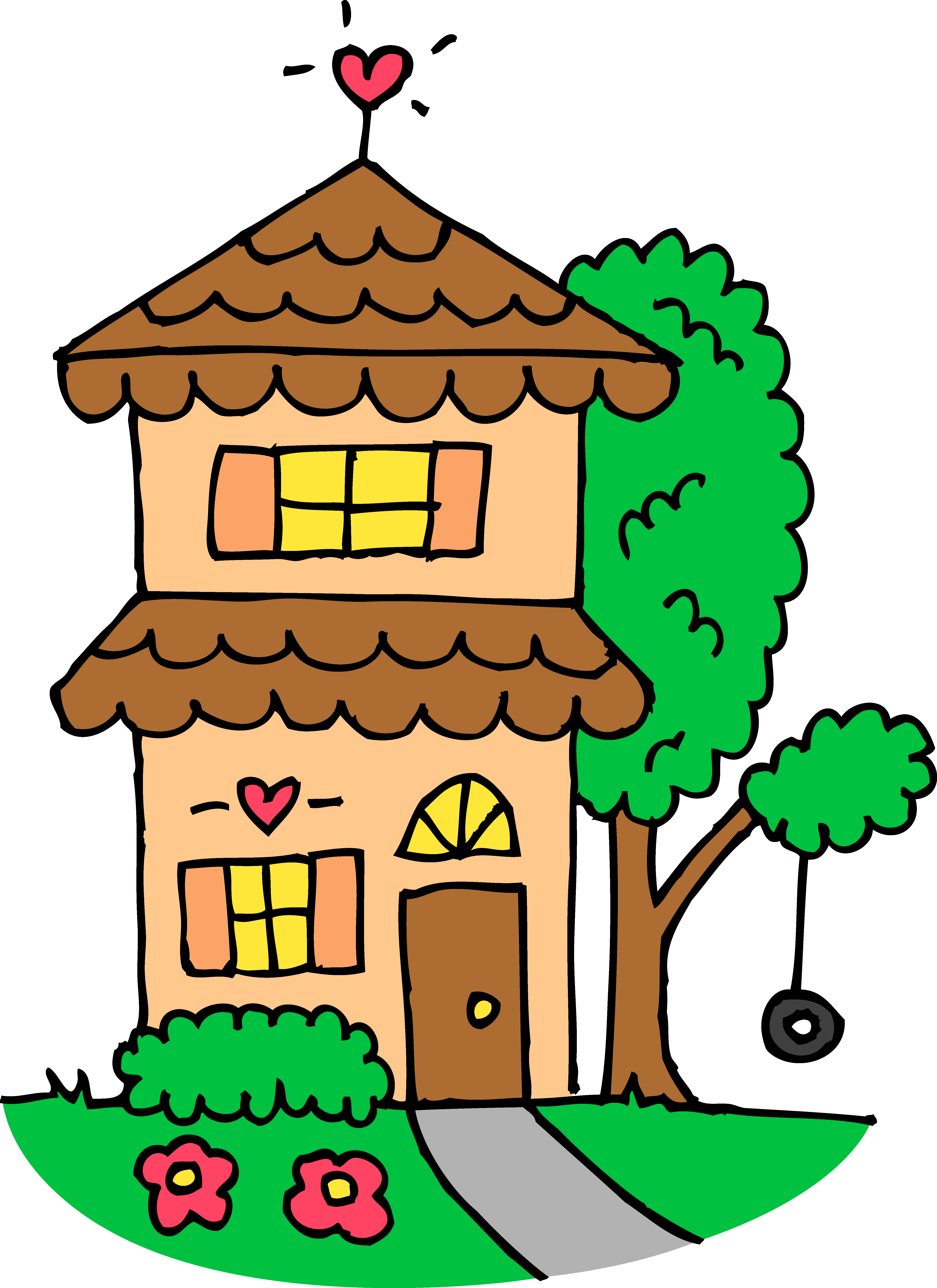 4844x6656 Free Cute House Clipart Image
