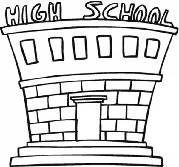 600x560 School House For High School Coloring Page Coloring Sky