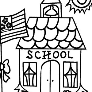 300x300 School House Outline Coloring Page School House Outline Coloring